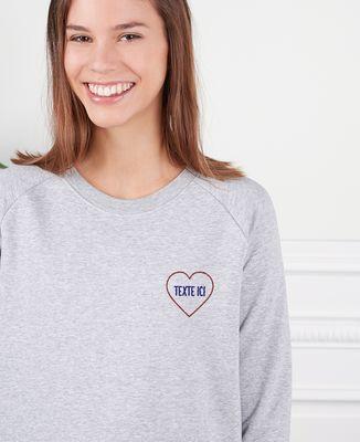 Sweatshirt femme Grand coeur brodé personnalisé