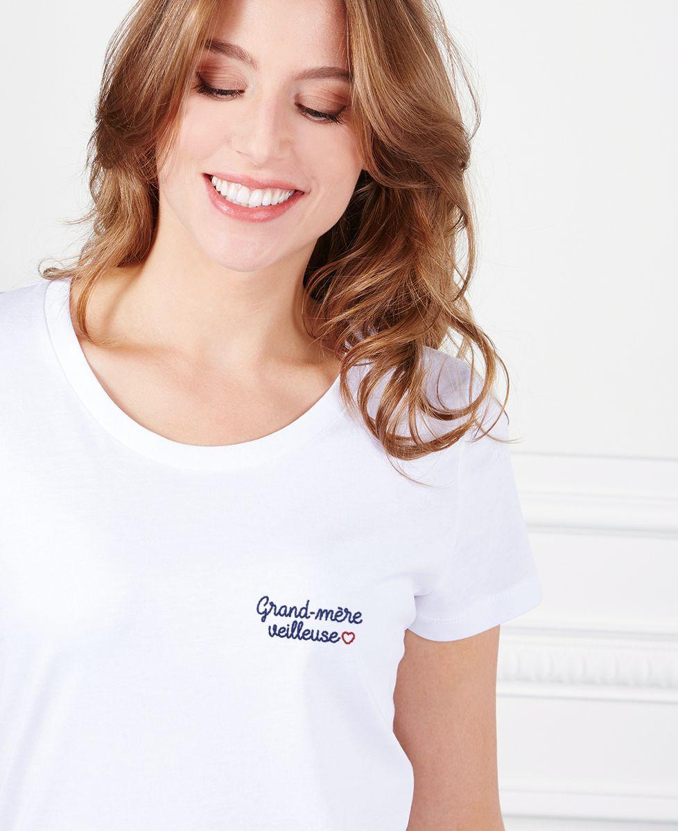 T-Shirt femme Grand-mère veilleuse (brodé)