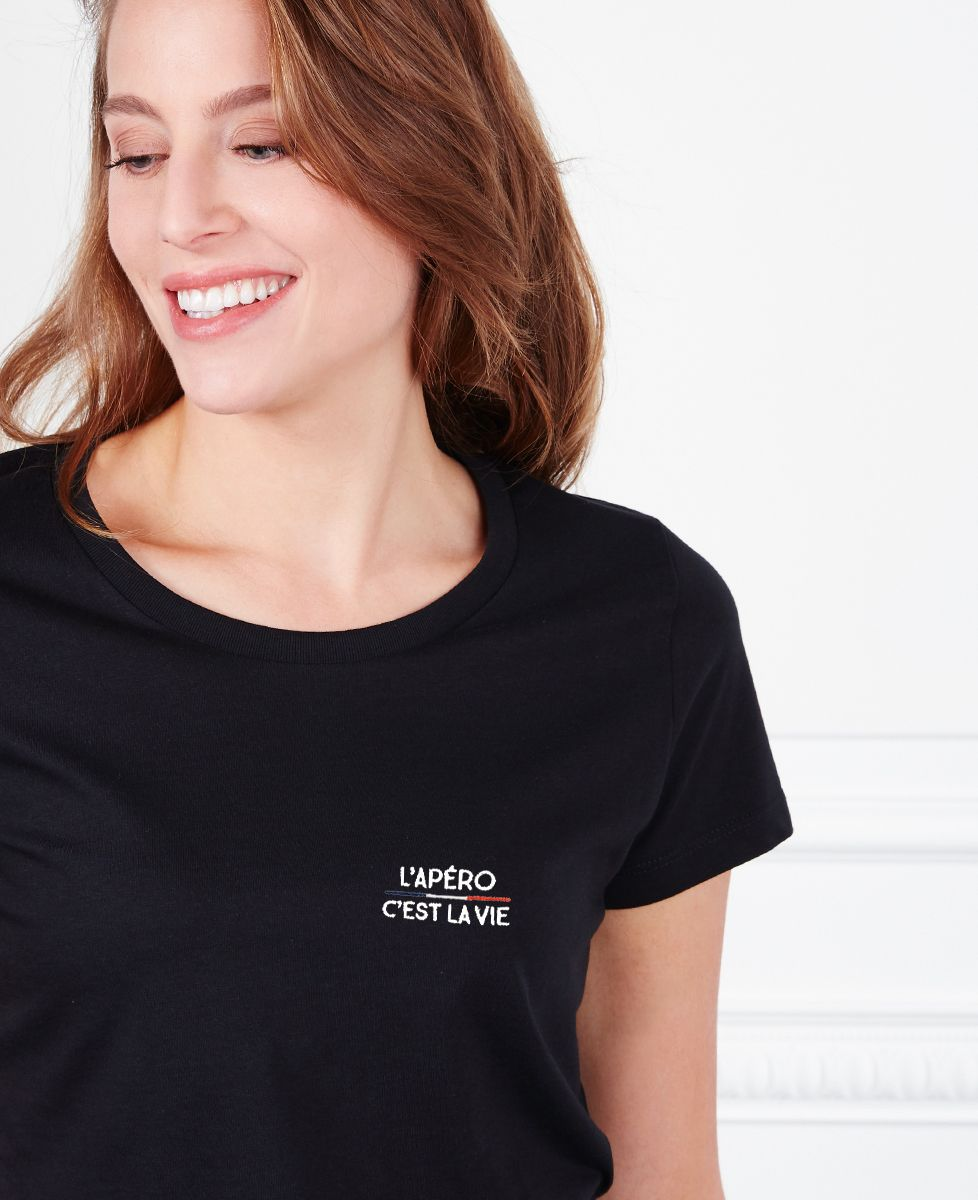 T-Shirt femme L'apéro c'est la vie (brodé)