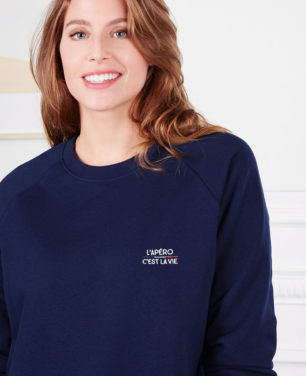 Sweatshirt femme L'apéro c'est la vie (brodé)