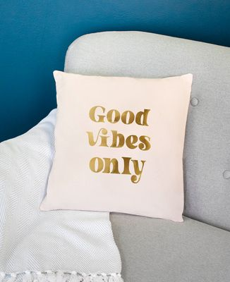 Coussin Good vibes only (effet doré)