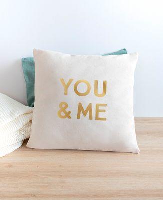 Coussin You & me (effet doré)