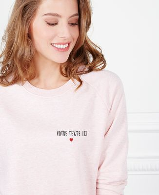 Sweatshirt femme Petit coeur brodé personnalisé