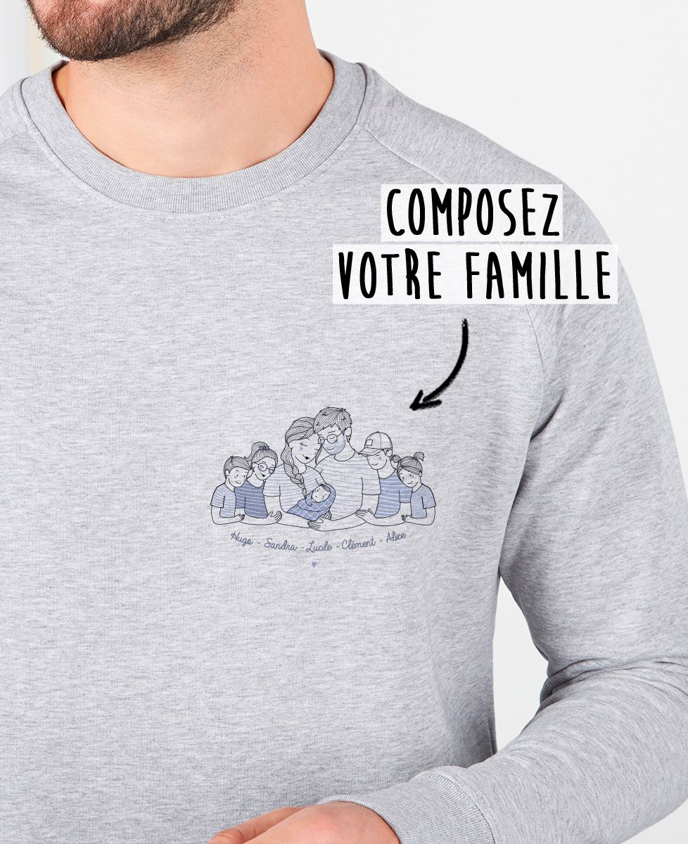 Sweatshirt homme Famille illustrée personnalisé