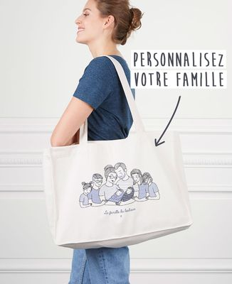 Maxi totebag Famille câlin personnalisé