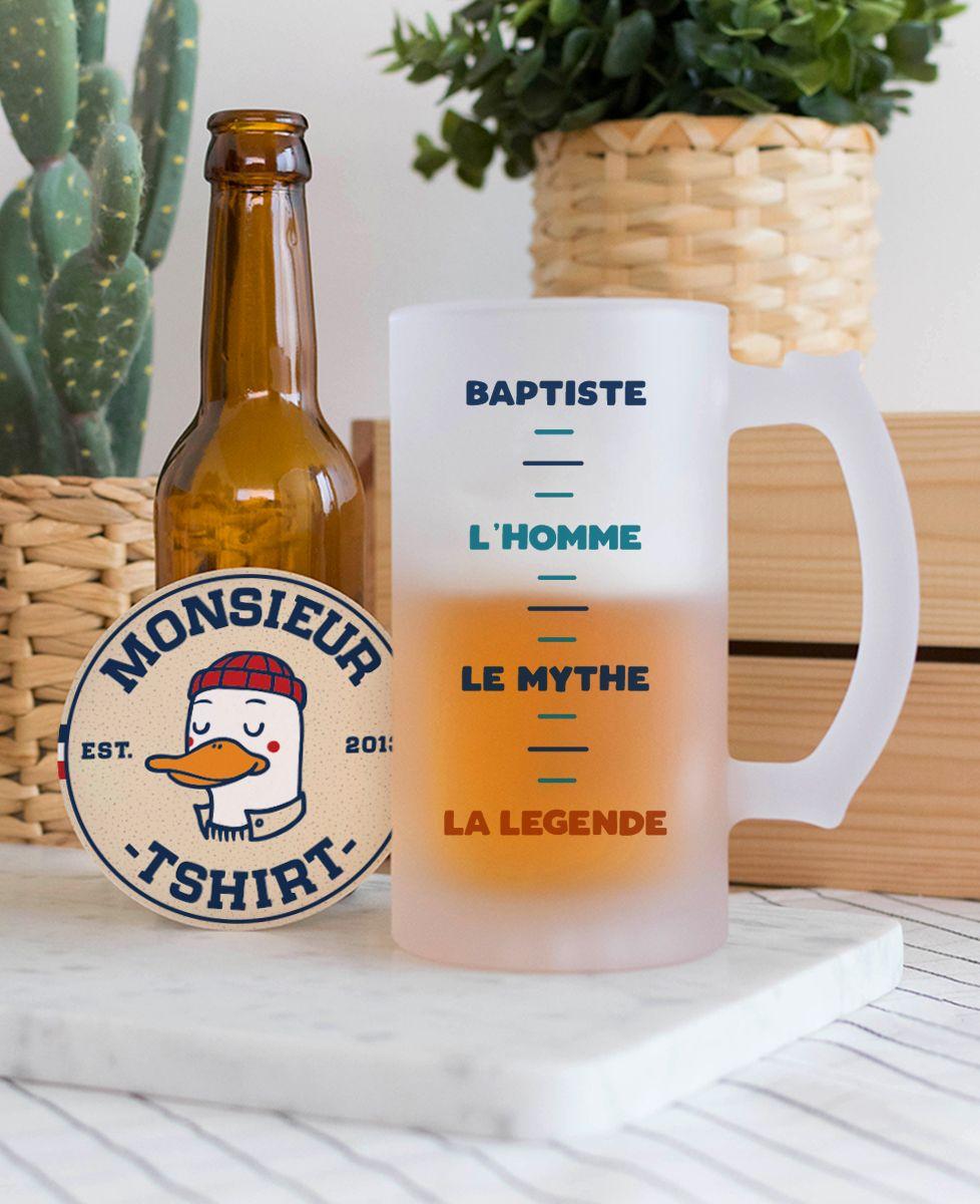 Chope de bière Prénom l'homme le mythe la légende personnalisé