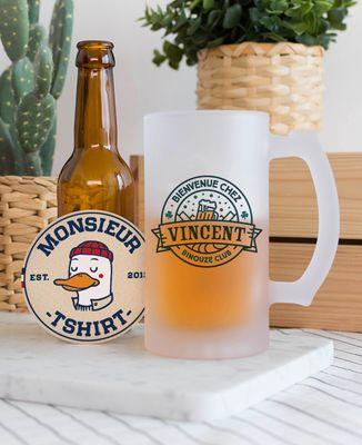 Chope de bière Bienvenue chez prénom personnalisé