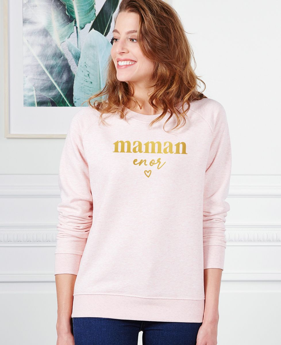 Sweatshirt femme Maman en or (effet doré)
