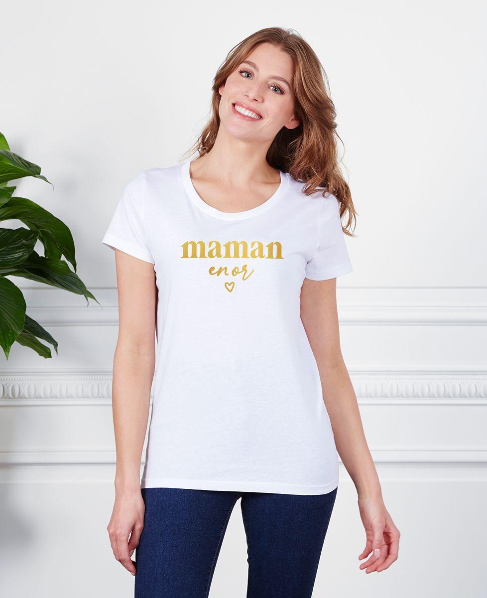 T-Shirt femme Maman en or (effet doré)