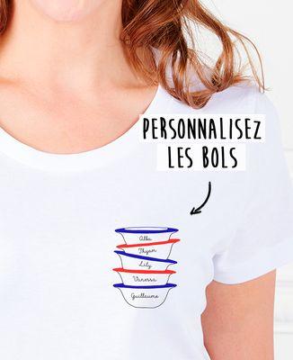 T-Shirt femme Bols et prénom imprimé personnalisé