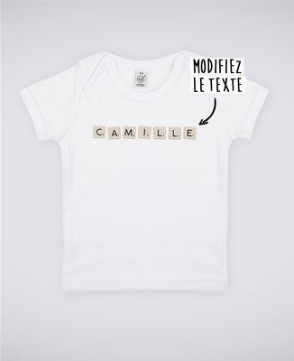 T-Shirt bébé Jeu de lettres personnalisé