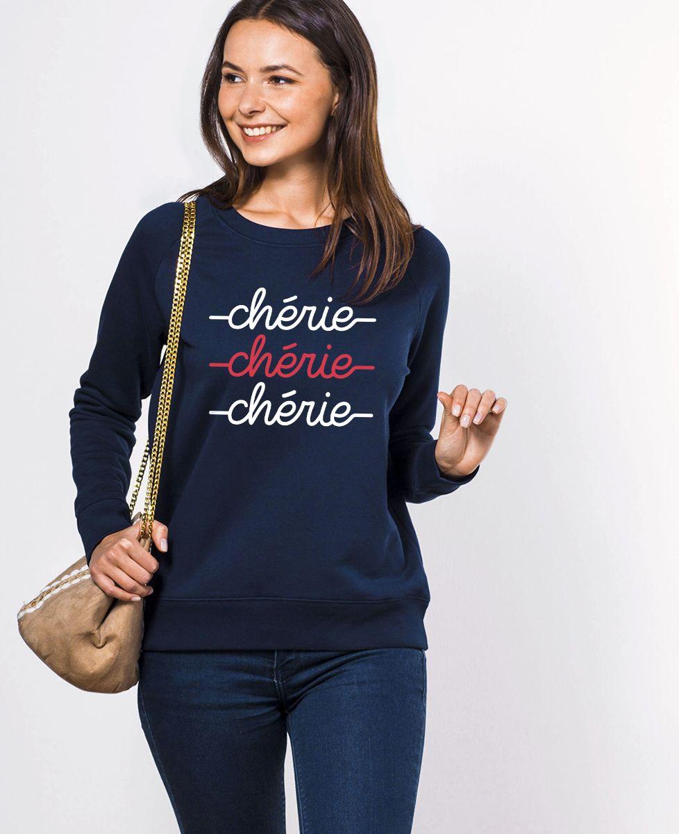 Sweatshirt femme Chérie chérie chérie