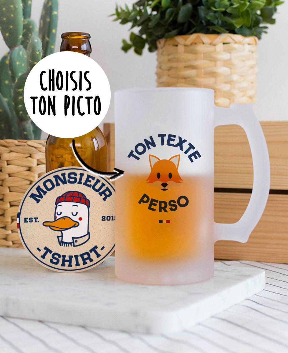 Chope de bière Message et picto imprimé personnalisé
