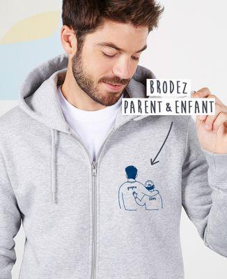 Hoodie zippé homme Parent et enfants brodé personnalisé