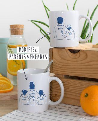 Mug Parent et enfants imprimé personnalisé
