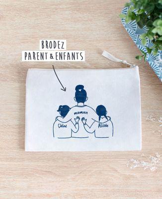 Pochette Parent et enfants brodé personnalisé