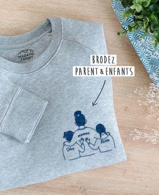 Sweatshirt femme Parent et enfants brodé personnalisé