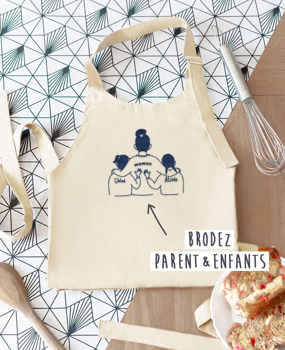 Tablier à poche Parent et enfants brodé personnalisé