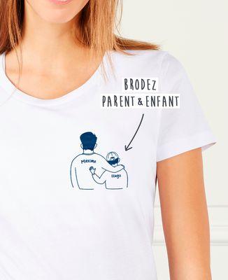 T-Shirt femme Parent et enfants brodé personnalisé