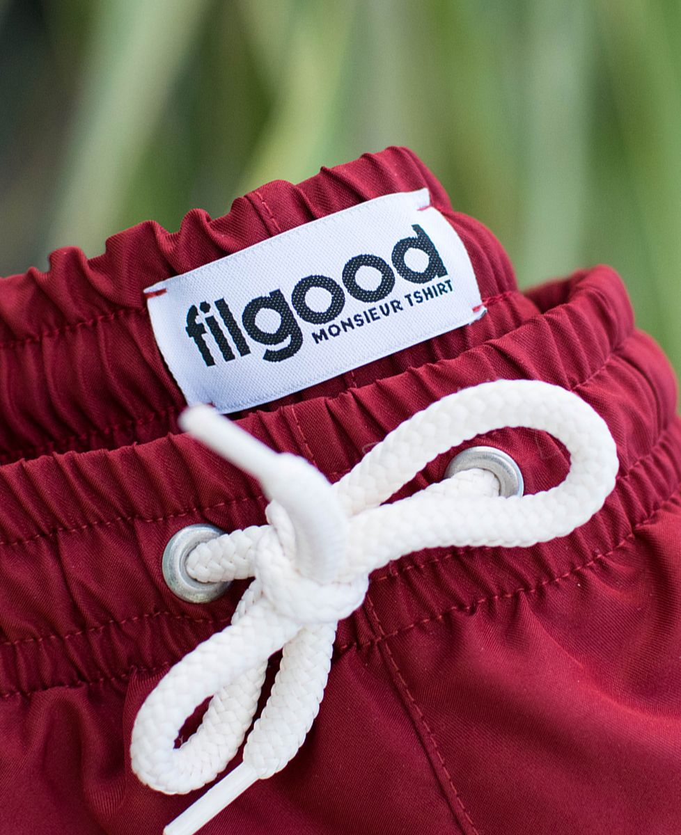 Short de bain recyclé Filgood Filgood picto brodé personnalisé