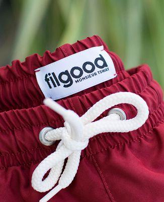Short de bain recyclé Filgood Filgood message et picto brodé personnalisé