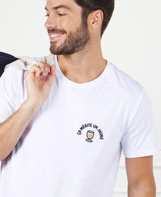 T-Shirt homme Ça mérite un jaune (brodé)