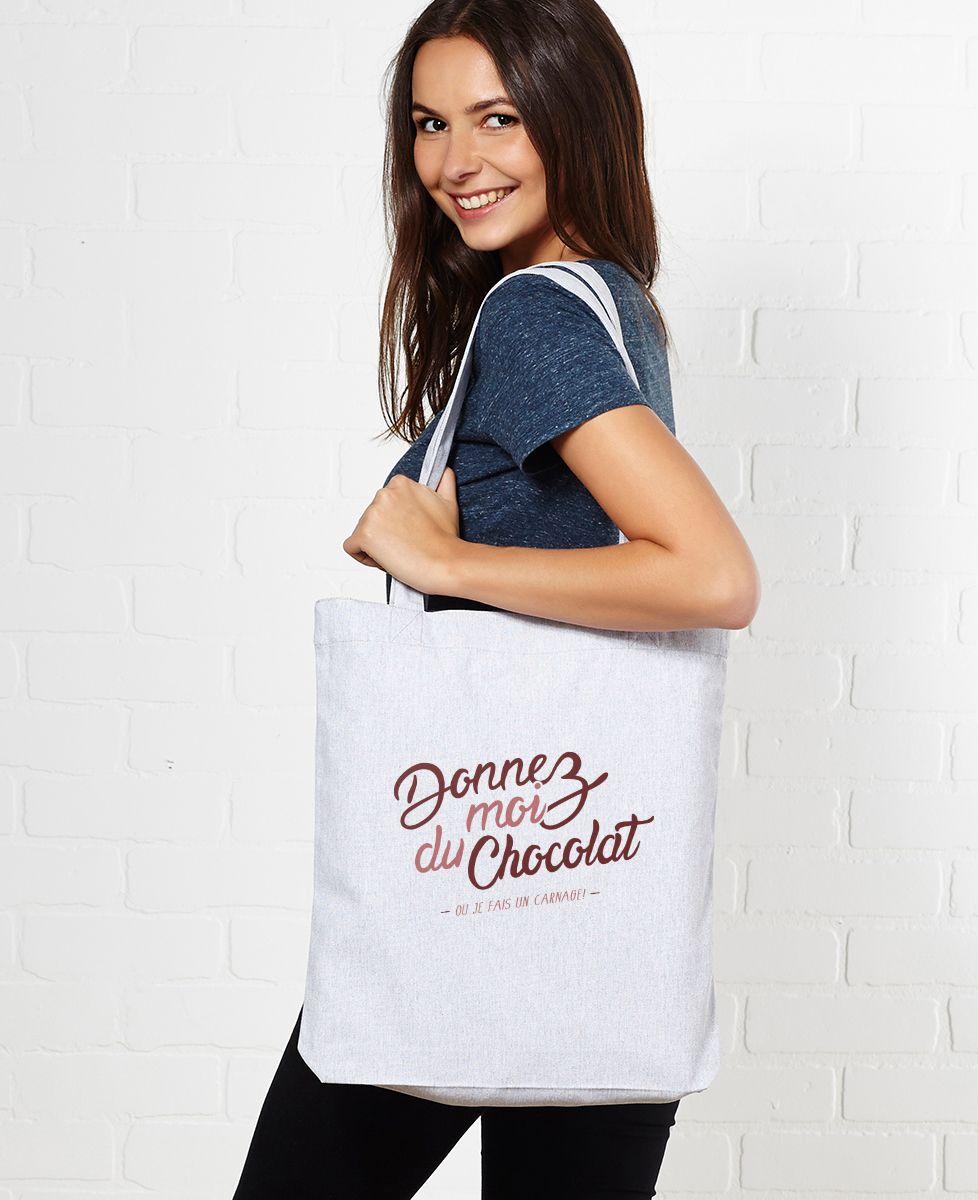 Tote bag Donnez moi du chocolat