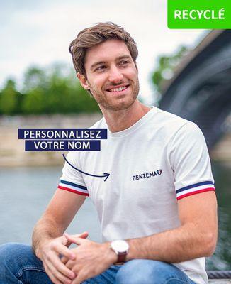 T-Shirt homme Supporter France brodé personnalisé