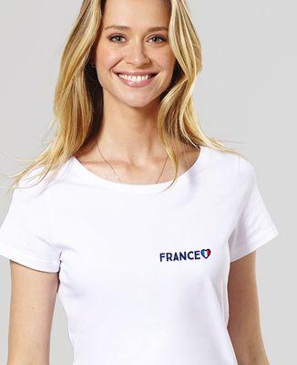 T-Shirt femme Supporter France brodé personnalisé