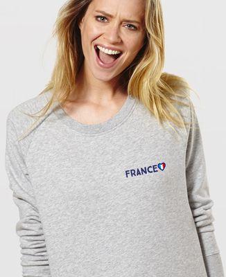 Sweatshirt femme Supporter France brodé personnalisé