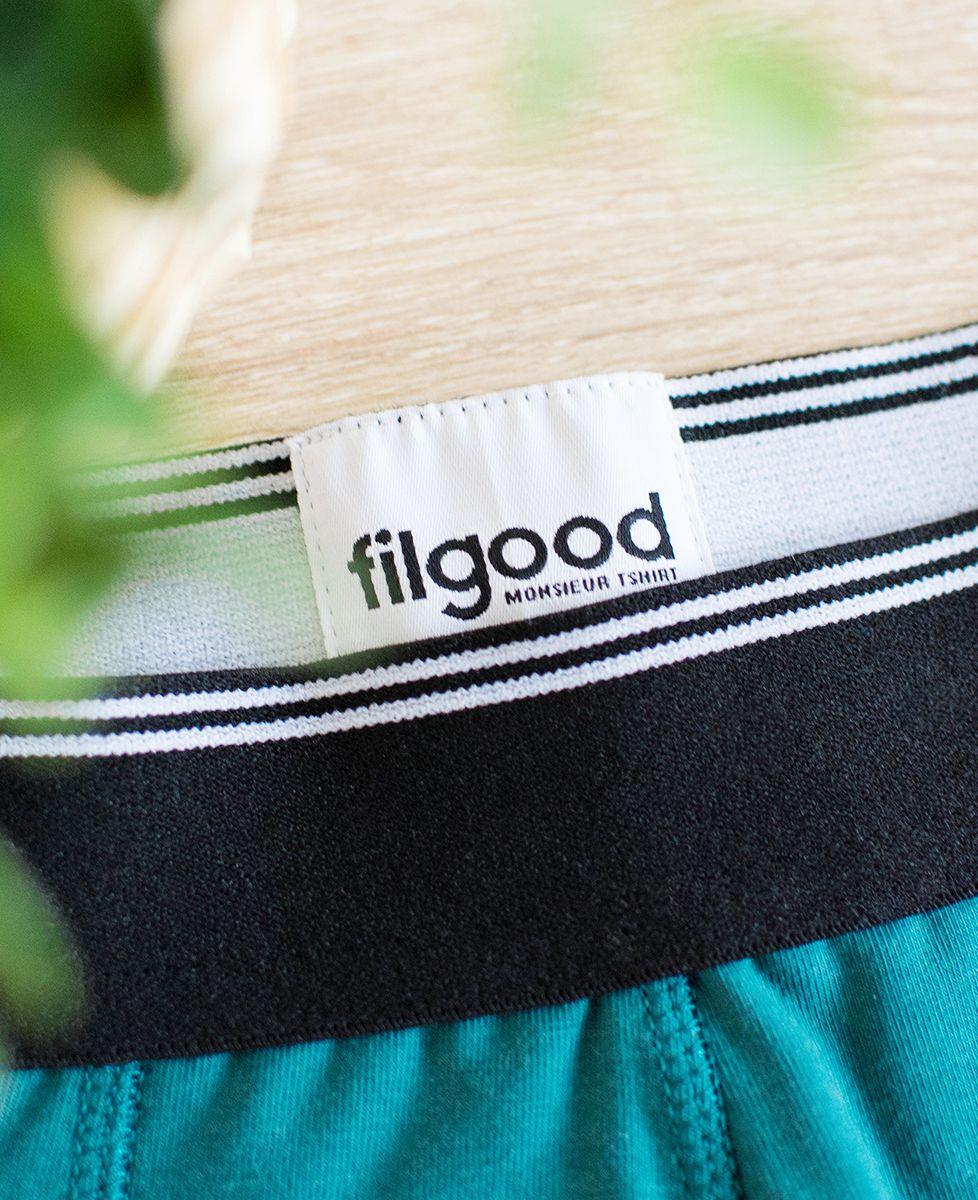 Boxer recyclé Filgood Filgood Tricolore brodé personnalisé