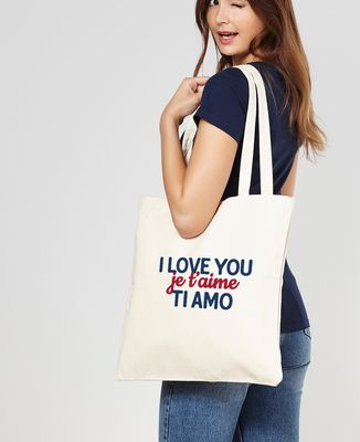 Tote bag I love you, je t'aime, ti amo