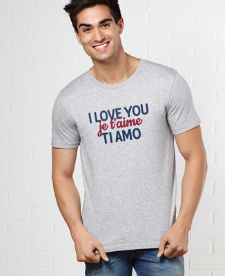 T-Shirt homme I love you, je t'aime, ti amo