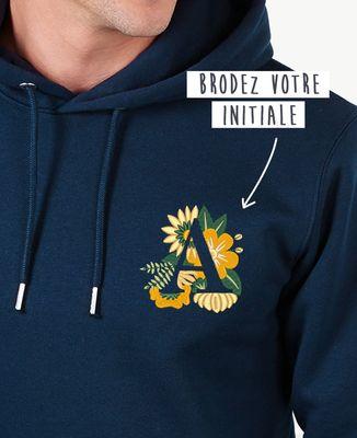 Hoodie homme Initiales fleuries brodé personnalisé