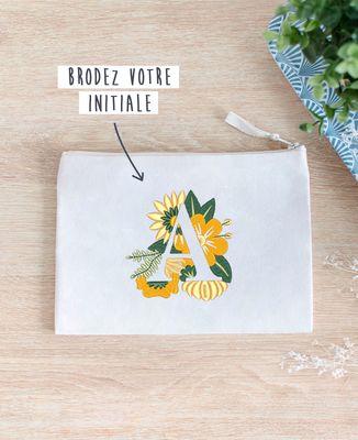 Pochette Initiales fleuries brodé personnalisé