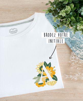T-Shirt femme Initiales fleuries brodé personnalisé