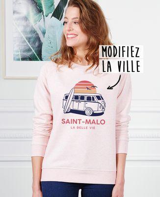 Sweatshirt femme Van personnalisé textile clair