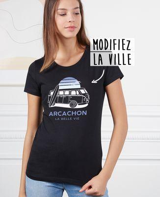 T-Shirt femme Van personnalisé textile foncé