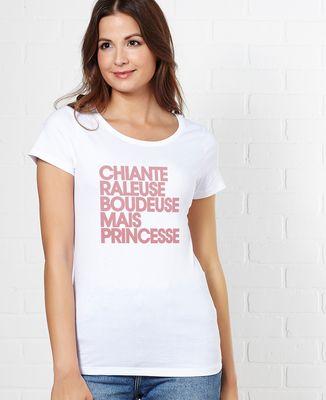 T-Shirt femme Chiante râleuse boudeuse mais princesse