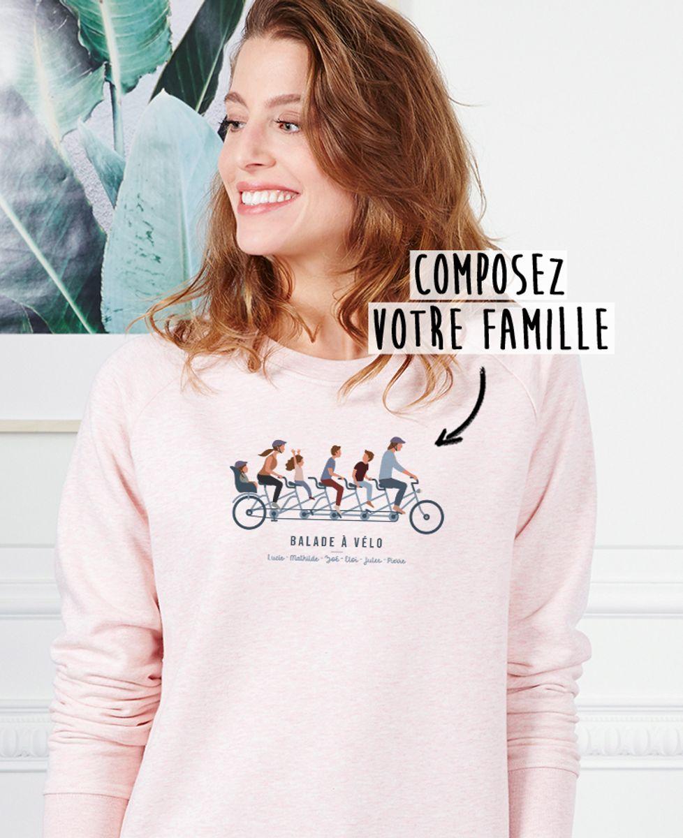 Sweatshirt femme Famille à vélo personnalisé