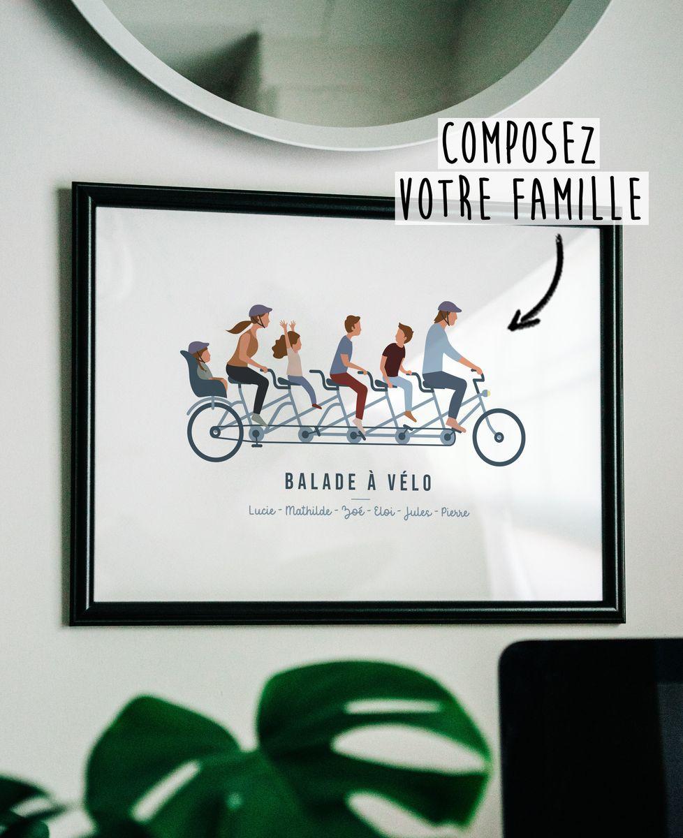 Affiche Famille à vélo personnalisé