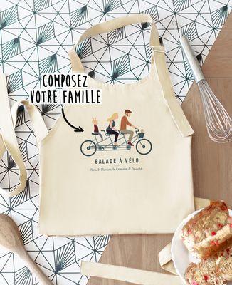 Tablier à poche Famille à vélo personnalisé