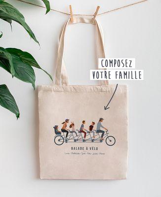 Tote bag Famille à vélo personnalisé