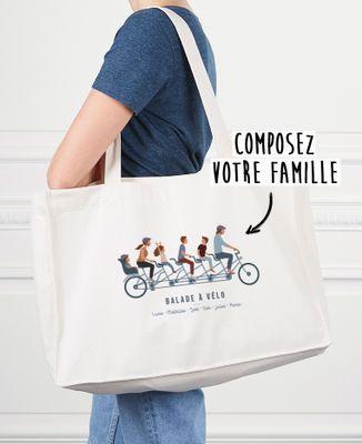Maxi totebag Famille à vélo personnalisé