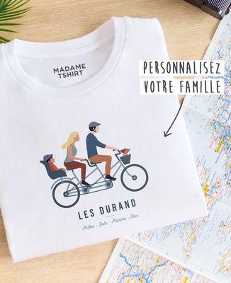 T-Shirt femme Famille à vélo personnalisé