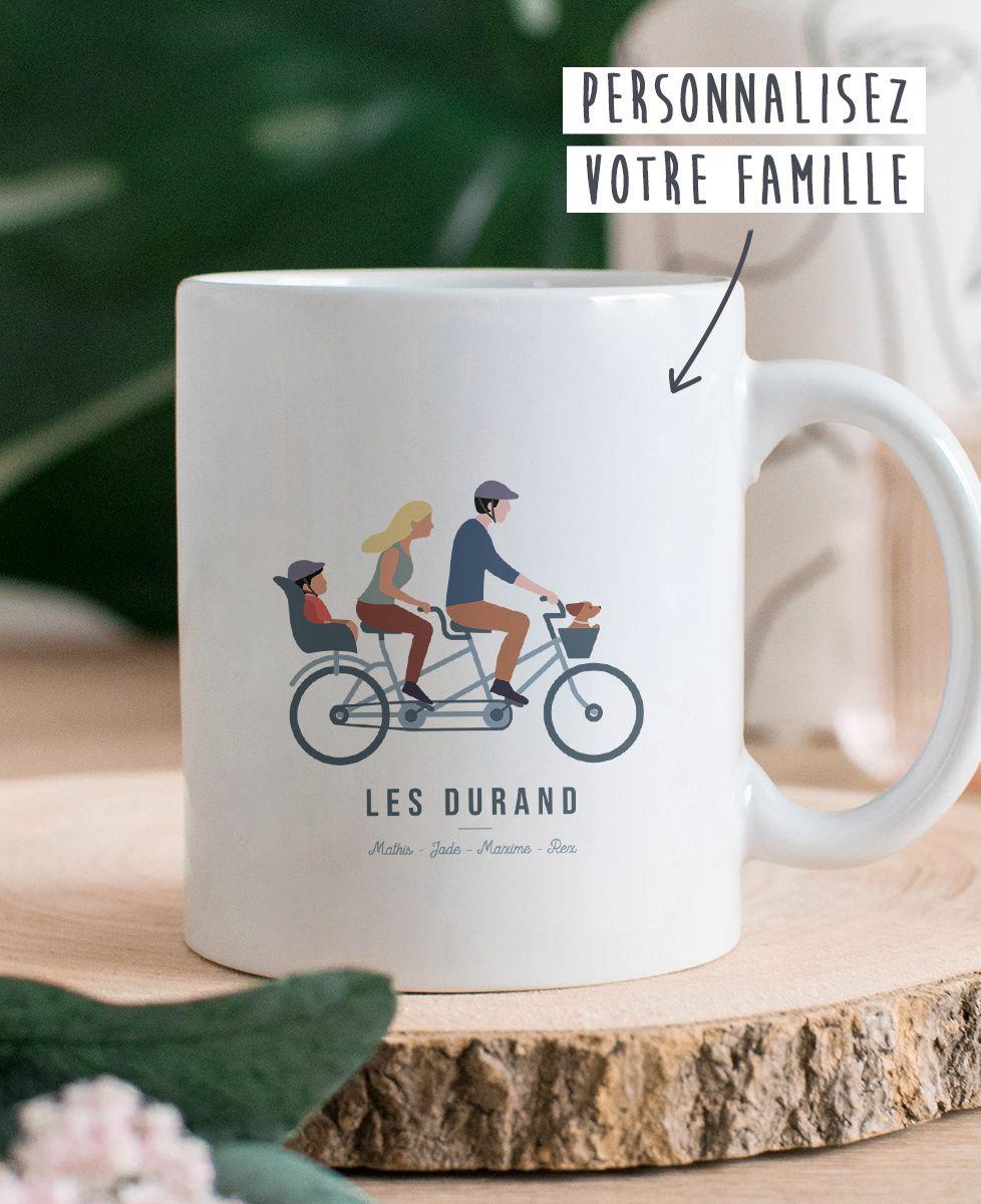 Mug Famille à vélo personnalisé