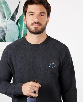 Sweatshirt homme Saut à ski (brodé)