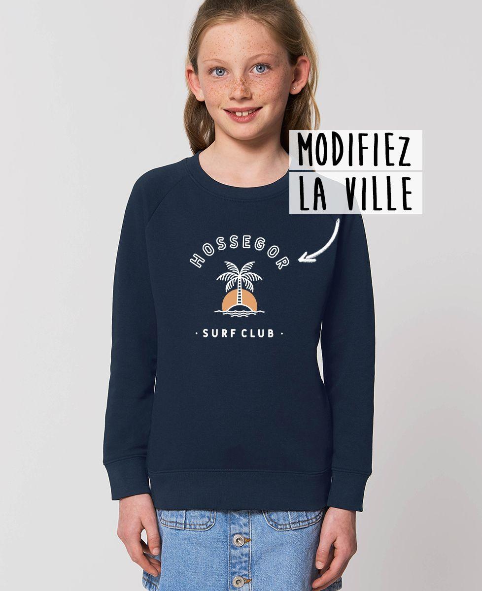 Sweatshirt enfant Surf club palmier personnalisé base foncée