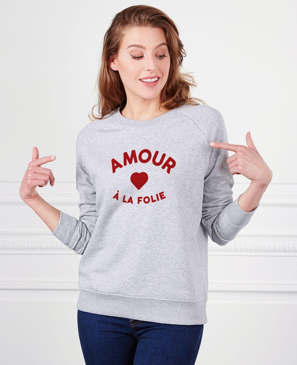 Sweatshirt femme Amour à la folie (effet velours)