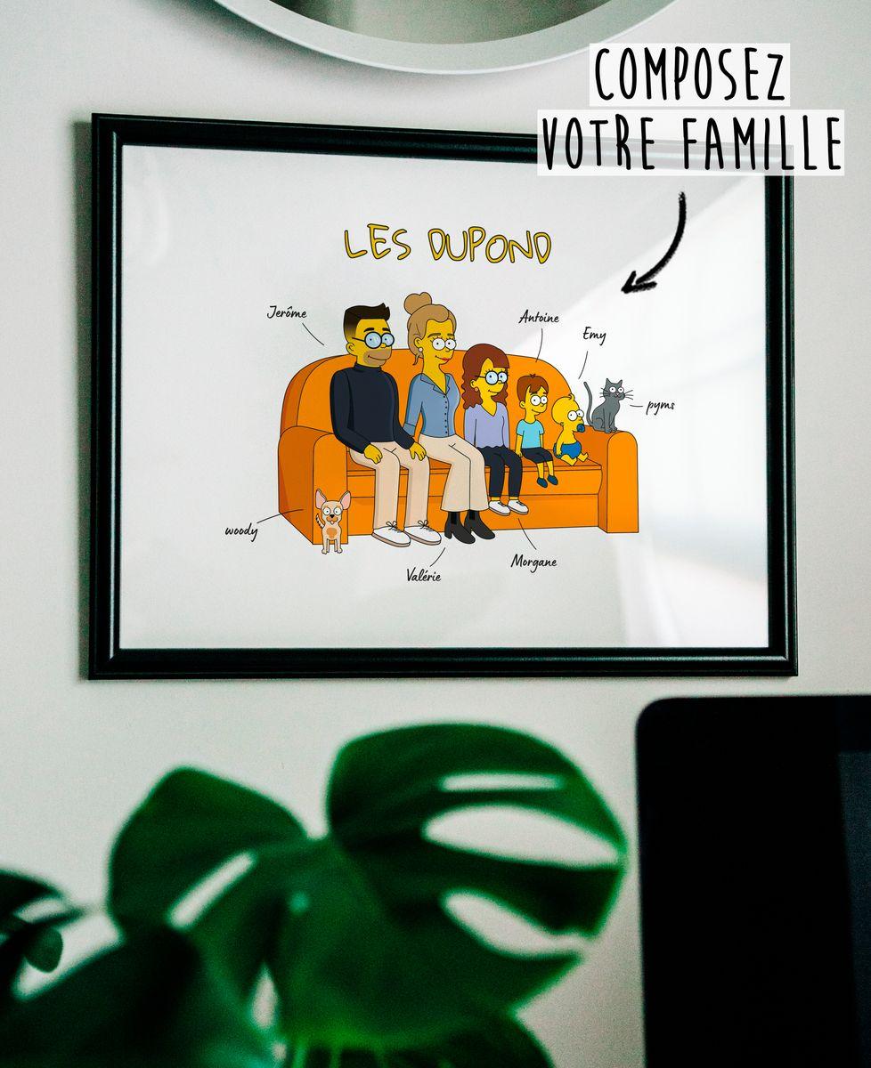 Affiche Famille personnalisée cartoon